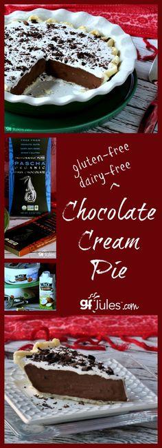 Gluten Free Dairy Free Chocolate Cream Pie - gfJules #glutenfree #Dairyfree #vegan #Chocolate #chocolatepie #coconut #SoDelicious