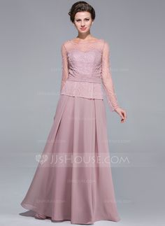 A-Line Princess Scoop Neck Floor-Length Beading Sequins Zipper Up Sleeves  Long Sleeves 2014 Other Colors Spring Fall Winter General Chiffon Mother of  the ... 6ee4365a0068