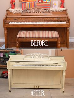 OH MY GOSH! I would LOVE to repaint my piano some awesome color...how cool would it be in a dark rich turquoise!? Wonderful site - DIY tips, ideas & tutorials.  Love her furniture re-do section.