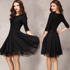 New Women Fashion Elegant Long Sleeve lace dress casual floral black women sml xl xxl Black Pink khaka 24 Winter Dresses, Evening Dresses, Casual Dresses, Short Dresses, Dress Winter, Fashion Dresses, Pretty Black Dresses, Beautiful Dresses, Glamorous Dresses
