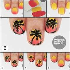 #nails : Red Gradient Palm Trees   Step 1: Paint your nails with a base of yellow  Step 2: Paint both colours overlapping on   Like US For More NEW DIY Fashion Projects I Heart DIY Fashion