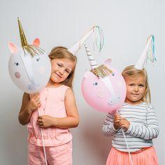 Kit de ballons licorne à préparer en DIY avec les enfants pour un goûter festif, un anniversaire ou lors d'un mariage. Marque Meri Meri