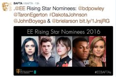 Star Wars actor John Boyega will battle it out against Fifty Shades Of Grey actress Dakota Johnson at next month's Bafta awards in the hopes of being named the next major star of the future.  Voting opens to the public at ee.co.uk/BAFTA on Wednesday 6th January at 10.30. The winner will be announced at the EE British Academy Film Awards ceremony on Sunday 14th February 2016.