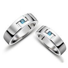 1 unids Silver Blue Sapphire cristal de la joyería anillo de los amantes del anillo de Women & Men regalo romántico caliente(China (Mainland))