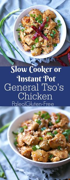 This simple General Tsos Chicken is bursting with a sweet and slightly spicy flavor! Only a few ingredients and can be made in the Instant Pot or Slow Cooker! Oh heyyyyy friends just another Asian dish in your Instant Pot or Slow Cooker without all the Instant Pot, Edamame, Paleo Dinner, Dinner Recipes, Dinner Ideas, Meal Ideas, General Tao Chicken, Tso Chicken, Chicken Cooker