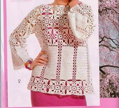 New Woman's Crochet Patterns Part 53 - Beautiful Crochet Patterns and Knitting Patterns Crochet Jacket, Crochet Blouse, Knit Crochet, Crochet Motif, Irish Crochet, Crochet Woman, Crochet Squares, Short Tops, Blouse Dress
