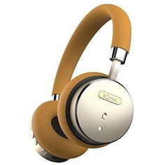 BÖHM Wireless Bluetooth Headphones with Active Noise Cancelling Headphones Technology - Features Enhanced Bass Inline Microphone & 18-Hour (Max) Battery - Gold/Tan B-66
