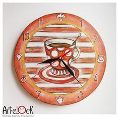 The Red Cup of Tea Wall Clock Home Decor for Children by ArtClock, $25.00