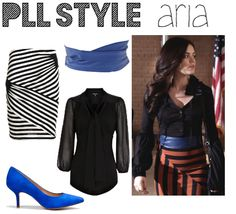 Aria's super stylish in this power outfit. First, start with a striped skirt. Opt out of the usual horizontal or vertical lines and go for something a little more bold, like diagonal ones! Tuck in a black blouse, like this form-fitting, poet sleeved one. A wrap belt is a great way to add definition and style to any outfit and BTM is loving this double wrap blue one! Finish your look with a pair of peppy blue, kitten heels!