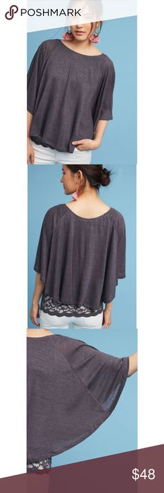[Anthropologie] Akemi + Kin Lace & Linen Cape Top Anthropologie Size XS Lace & Linen Cape Top Akemi + Kin NWT Casual Flowy Grey  Cape silhouette in an easy pullover style with a beautiful pop of lace underneath for a cute and casual look. 100% linen that's perfect for warmer weather in a neutral gray that pairs easily with any print or color.   100% Linen Measurements: Length: 19 inches Anthropologie Tops Blouses