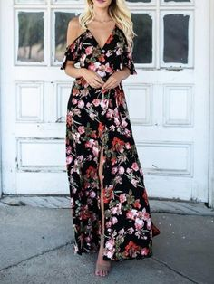 58737be79f7 V-neck Floral Print Thigh Split Front Chic Women Cami Maxi Dress