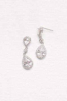 """These classic crystal drop earrings make a timeless statement on your wedding day.  Cubic zirconia, metal  0.5""""L  Imported"""
