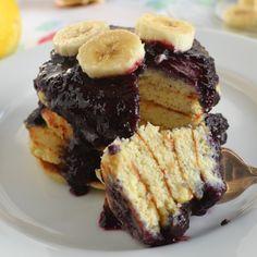 Coconut Flour Pancakes with Blueberry Sauce #glutenfree #grainfree #paleo