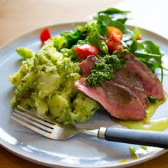 Spiced lamb rump with pesto-smashed potatoes and cos salad By Nadia Lim