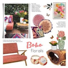 """Spring Florals - Boho Decor"" by c-silla ❤ liked on Polyvore featuring interior, interiors, interior design, home, home decor, interior decorating, Asian Art Imports, Ink & Ivy, Threshold and OKA"