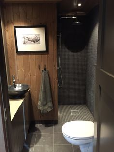 I like the idea of a wet room shower in the two new bathrooms Cabin Interiors, Rustic Interiors, Wet Room Shower, Douche Design, Chalet Interior, Cabin Bathrooms, Home Design Diy, Cottage Furniture, Downstairs Bathroom