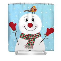 Snowman shower curtain.
