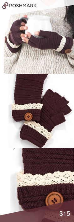 JUST IN! Crochet Fingerless Gloves Stay warm outside in these fingerless fashion gloves featuring crochet trim with decorative buttons.  Color: Eggplant  One size only 100% Acrylic Accessories Gloves & Mittens