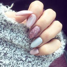 Winter Nails Designs - My Cool Nail Designs Aycrlic Nails, Hair And Nails, Manicure, Pink Acrylic Nails, Almond Acrylic Nails, Pastel Pink Nails, Stylish Nails, Trendy Nails, Fancy Nails