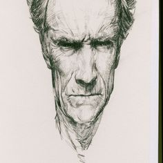 #Drawing in my #sketchbook. This reference is easy to find if your curious to compare. #ClintEastwood