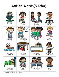 This is an introduction to action words(verbs) for writing folders. I also have a more in depth version with -ing, -ed, and several more actions. Black and white and color versions.