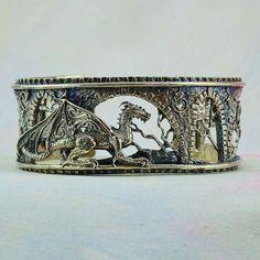 "Size Large/Extra Large Fantasy Dragon Bracelet ""Brackenthal's Keep"" in Sterling Silver Beads Jewelry, Jewelry Bracelets, Jewelry Accessories, Jewlery, Bangles, Dragon Bracelet, Dragon Jewelry, Fantasy Dragon, Dragon Art"