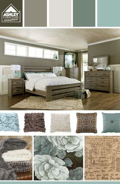 Cool blues for the bedroom - love! (Zelen Poster Bed - Ashley Furniture HomeStore)