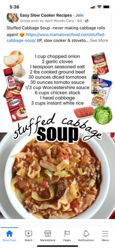 Cabbage Rolls, Cabbage Soup, Seasoned Salt, Worcestershire Sauce, White Rice, Chicken Pasta, Tomato Sauce, Slow Cooker Recipes, Ground Beef