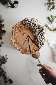 Chocolate Hazelnut Cake with Gianduja Praline Swiss Meringue Buttercream from @butterxbrioche