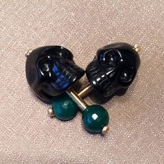 Men's 14k Gold Filled Black Obsidian  and Green by jonahadam
