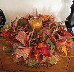 Fall Candle Centerpiece Arrangement(candle not included)/Fall Deco Mesh Centerpiece/Fall Candle Arrangement/Candle Centerpiece Fall Candle Centerpieces, Candle Arrangements, Fall Flower Arrangements, Fall Candles, Fall Mesh Wreaths, Fall Deco Mesh, Deco Mesh Wreaths, Halloween Mesh Wreaths, Ribbon Wreaths