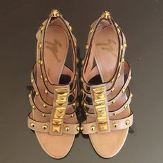 "Giuseppe Zanotti Sandals Authentic gold studded gladiator sandals. Nude leather with 4.5"" stiletto heel. Will fit size 7. Worn once. In excellent condition. Giuseppe Zanotti Shoes Sandals"