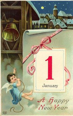 Vintage New Year Postcard by Suzee Que, via Flickr * For free Christmas toys Arielle Gabriels The International Society of Paper Dolls also free China and Japan toys The China Adventures of Arielle Gabriel *