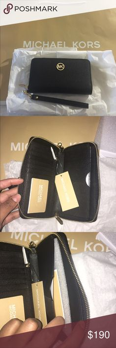 Authentic Michael Kors large wristlet Brand new Michael Kors large wristlet wallet and cell phone holder, holds cards, cash, coin and a cell phone as big as an iPhone 7plus Michael Kors Bags Clutches & Wristlets