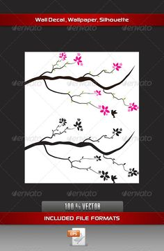 Flower Wall Decal  #GraphicRiver         Branches and Flower Decal can be use on walls and Objects     Created: 4September12 GraphicsFilesIncluded: VectorEPS Layered: No MinimumAdobeCSVersion: CS Tags: berries #bird #branch #color #decal #design #fauna #feather #floral #flower #foliage #graphic #humming #leaf #nature #outdoor #pink #small #sparrow #spring #stem #sticker #summer #tree #tulip #twig #wall #wild #wing #wood