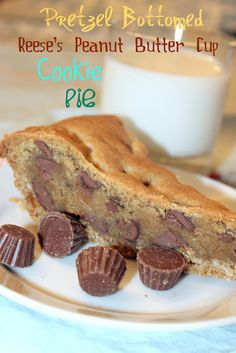 AKM designs and delights: Bake Me Happy - Pretzel Bottomed Reeses Peanut Butter Cup Cookie Pie