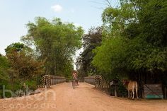 Girls riding over a bridge | Siem Reap Province, Cambodia