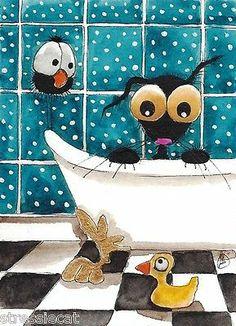 ACEO Original Watercolor Folk Art Painting Black Stressie Cat Crow Bath Duck | eBay