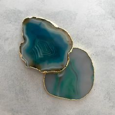 Handcrafted in India, these unique natural stone coasters feature a gold rimmed edge. South African Shop, Stone Coasters, Coaster Set, Handmade Crafts, Natural Gemstones, Agate, Im Not Perfect, Shops, Random