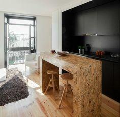 OSB Platten Idee - Eine Kücheninsel und Theke