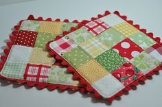 Potholders pieced with rick rack trim!