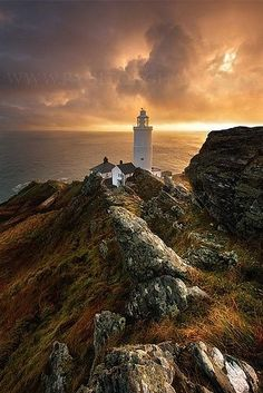 Start Point Lighthouse, Devon England  built in 1836 to protect shipping from Start Point