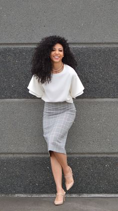 White Collar Glam, Charlotte, NC, attorney outfit, black attorney, mixed girl, professional clothes, work outfit, work clothes, office outfits, workwear, natural curls, curly hair, wash and go, natural hair, women's work wardrobe, black blogger, photography, mixed model, corporate photography, business casual, white blouse, Zara, Zara skirt, pencil skirt, Nine West heels, nude heels, slingback heels