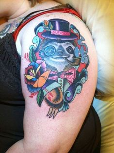 Fancy sloth tattoo. | 28 Sloth Tattoos That Prove How Eternally Amazing Sloths Are