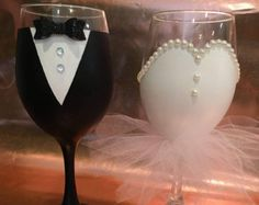 Bridal Party Wine Glasses Hand Painted Bridal Wine Glasses