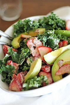 Strawberry-Avocado Kale Salad with Bacon Poppyseed Dressing via