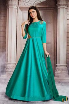 These designer churidaar style heavy printed malbari jacquard salwaar suits are super selling. Stock these bollywood style salaawr suits for your boutique. Anarkali Frock, Anarkali Suits, Punjabi Fashion, Bollywood Fashion, Sea Green Weddings, Abayas, Dress Suits, Embroidered Silk, Wedding Wear