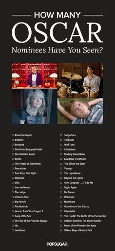 How Many Oscar Nominees Have You Seen? Here's a Printable Checklist - - How Many Oscar Nominees Have You Seen? Here's a Printable Checklist Movie Oscar Film Checkliste 2015 Netflix Movies To Watch, Movie To Watch List, Good Movies To Watch, Movie List, Oscar Movies List, List Of Good Movies, Hallmark Channel, Drama Korea, Disney Cartoons
