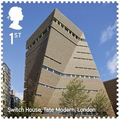 The UK's Best Contemporary Architecture Celebrated in New Stamp Series,Tate Modern Switch House / Herzog & de Meuron. Image Courtesy of Royal Mail Royal Mail Stamps, Uk Stamps, Postage Stamps, British Architecture, Contemporary Architecture, London Aquatics Centre, Switch House, First Class Stamp, Marketing Poster