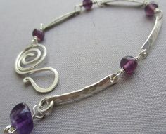 SALE /Hammered Silver Bracelet with Amethyst/ Silver by mese9